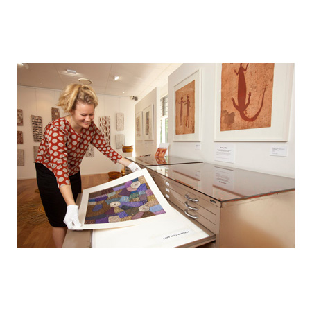Talitha Kennedy viewing limited edition prints from many Art Centres across northern Australia