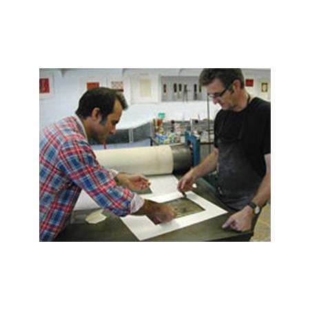 Rob Brown and Basil Hall at the printing press at Basil Hall Editions Darwin.