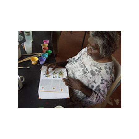 Artist Peggy Jones during the print workshop at Julalikari Arts in Tennant Creek.