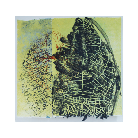Breathe, dry-point and stenciled pulp on handmade abaca paper, 63 x 60 cm, 2012.