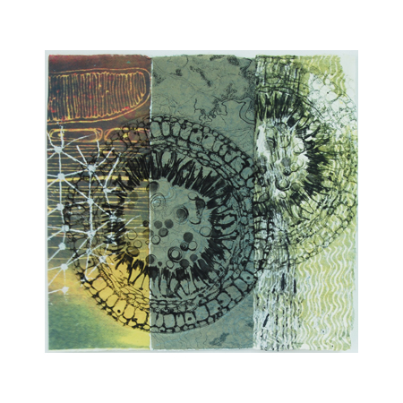 Breathe 5, dry-point, collograph print and stenciled pulp on watermarked handmade abaca and cotton papers, 60 x 63 cm.