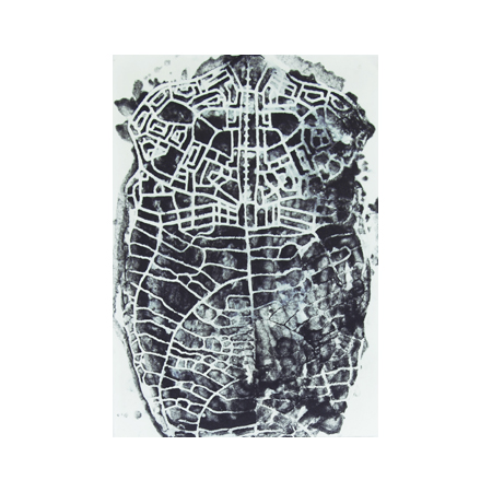 Connect, stenciled pulp on handmade abaca paper , 60 x 42 cm, 2012.