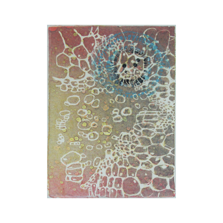 Cellular, Stenciled and painted pulp on watermarked handmade abaca and cotton papers, 60 x 42 cm, 2012.