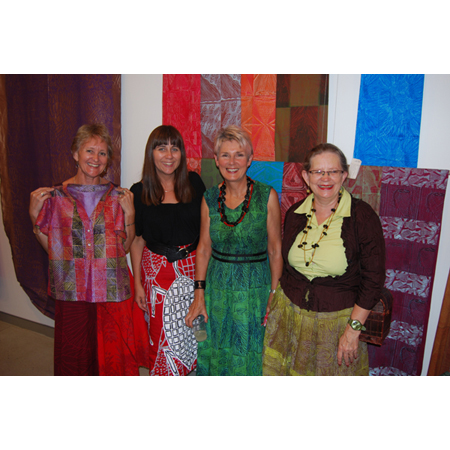 At the opening, Rose Cameron Director of Nomad Art, Fiona Sivyer Manager Nomad Art  Canberra, Valerie Kirk Head of Textiles at the Australian National University, Dr Louise  Hamby Postdoctoral Fellow Australian National University.