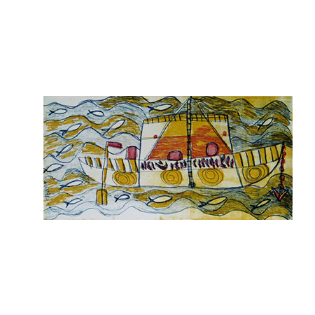 Laklak (2) Nguliny Ganambarr Mangatharra Maratanga (Makassan Boat) etching 25 x 50 cm ©Buku Larrnggay Mulka 2008
