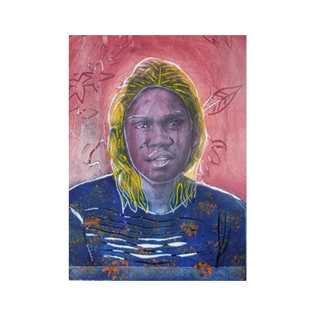 Gunariny Wanambi, Ngarra (Me), photograph and linocut. © Buku Larrnggay Mulka, Yirrkala