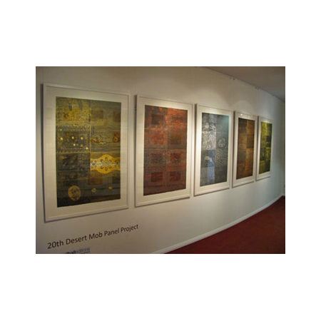 The forty blocks are also available as five large panels, seen here exhibited at the Araluen Arts Centre as part of Desert Mob 2010. Price $6,600. Also available individually. Please contact Nomart Art.