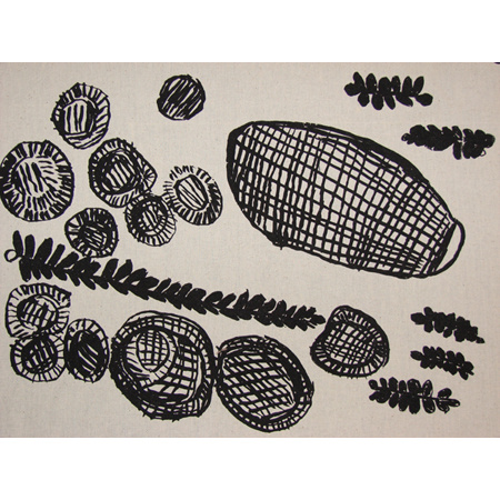 Kate Miwulku, Baskets, Mats & Catfish, acrylic pigment on cotton, screen printed by hand, panel