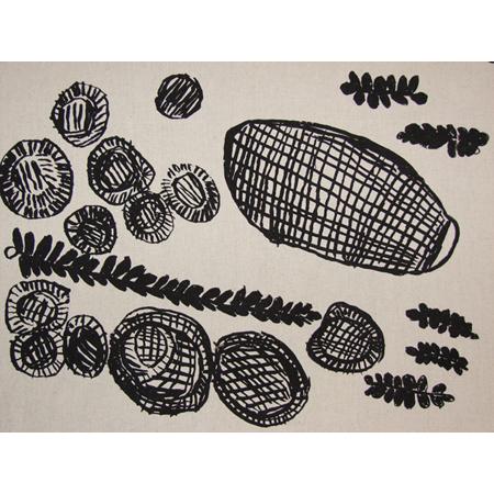 Kate Miwulku, Baskets, Mats & Catfish, acrylic pigment on cotton, screen printed by hand, panel