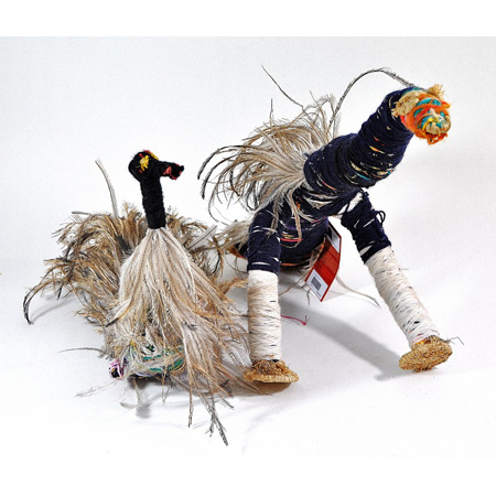 Kathy Dodd, Tjulpu (Bird) 2011, raffia, wool and wipiya (emu feathers), Tjanpi Desert Weavers