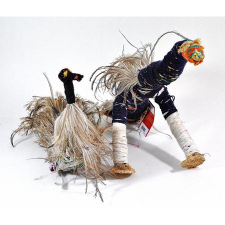 Kathy Dodd, Tjulpu (Bird) 2011, raffia, wool and wipiya (emu feathers), Tjanpi Desert Weavers
