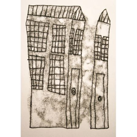 Houses by Alfonso Puautjimi, monotype print, 2011