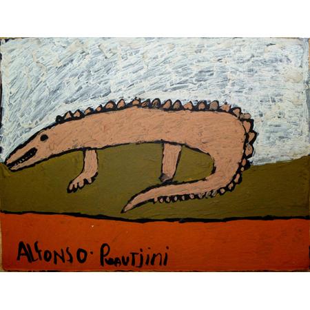Yirrikipayi (Crocodile) by Alfonso Puautjimi, ochre on paper, 2011
