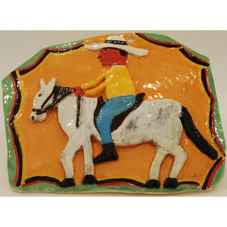 Stockman, ceramic wall hanging by Violet Hammer