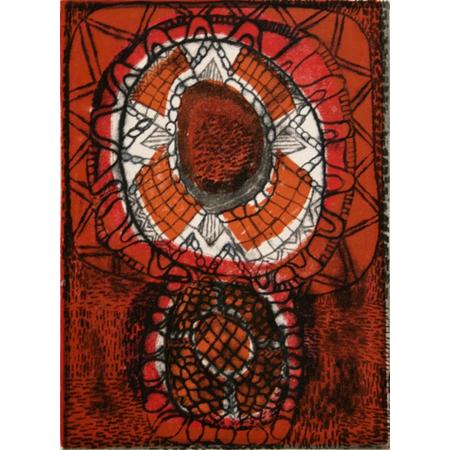 Jilamara 033 by Lillian Kerinaiua, monotype print, 2011