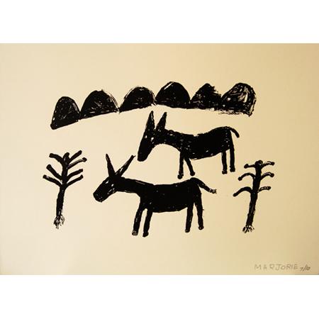 Wild Donkeys, silkscreen by Marjorie Keighran