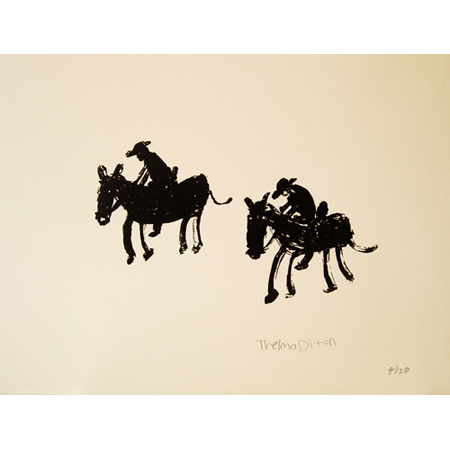 Melbourne Cup Riders, silkscreen by Thelma Dixon