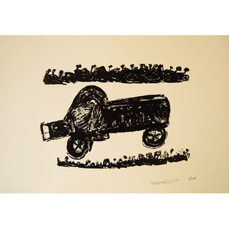 Ration Run to Black Rock, silkscreen by Thelma Dixon