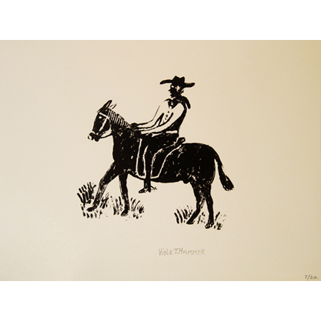 Cowboy from the Gulf, silkscreen by Violet Hammer