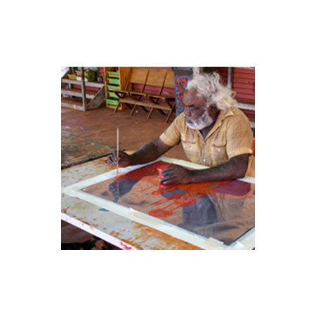 David Miller working on his screenprint during the print workshop with Basil Hall © Tjungu Palya 2009.