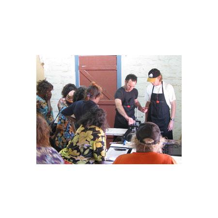 Artists and facilitators at the APW workshop at Ninuku Arts in 2008