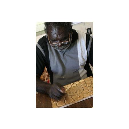 Joe Manygulma working on his  Ocean Currents woodblock
