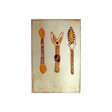 Brenda Tipungwuti Fighting Sticks 3 colour monotype, 2008
