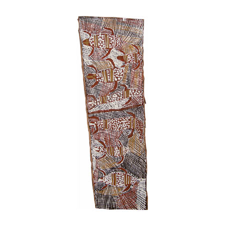 Baru ga Miyapunu (Crocodile and Sea Turtle), natural pigments on bark, 101x38 cm, © Buku-Larrnggay Mulka 2008