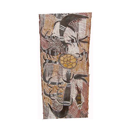 Garrangali the Crocodiles Nest, natural pigments on bark, 101x38 cm, © Buku-Larrnggay Mulka 2008