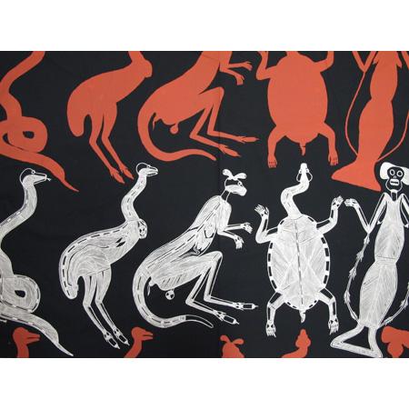 Allan Nadjamerrek, Nawardekken (Stone Country), acrylic pigment on cotton, screen printed by hand