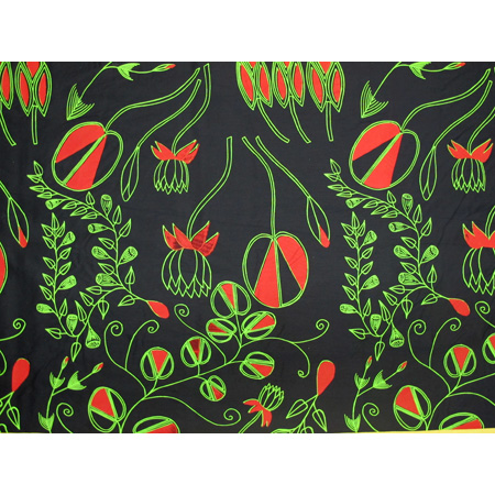 Selina Nadjowh, Manme (Bush Foods), acrylic pigment on cotton, screen printed by hand