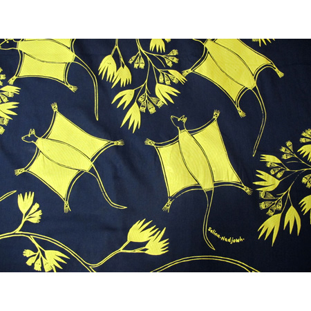 Selina Nadjowh, Lambalk (Sugar Gliders), acrylic pigment on cotton, screen printed by hand