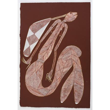 Maralngurra (Maath) Nadjamerrek - Yawk Yawk (Freshwater Spirit) acrylic and ochre on paper, 76.5 x 51cm