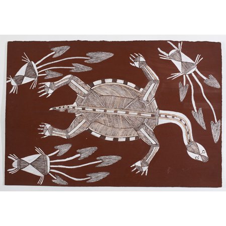 Namarnyilk (Gavin) Nadjamerrek - Ngalmangiyi (long-necked turtle) acrylic and ochre on paper, 76 x 51cm
