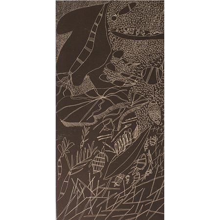 Seven Sisters – Gulumbu by Gulumbu Yunupingu (dec) etching, 50 x 100cm