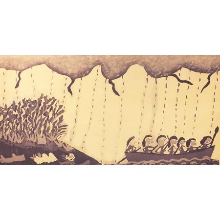 Seven Sisters – Ranydjupi by Ranydjupi Yunupingu etching, 50 x 100cm