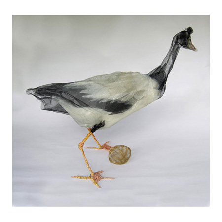 Magpie Goose, fly wire and electrical wire, 77 x 90cm