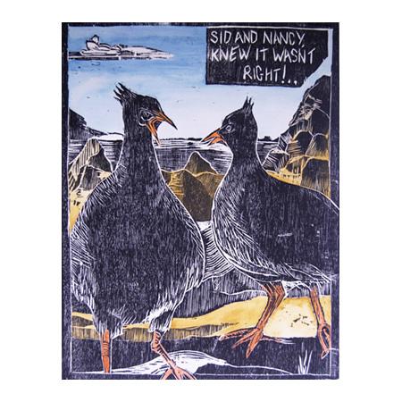 Sid and Nancy, hand coloured wood block print, 52 x 39.5 cm