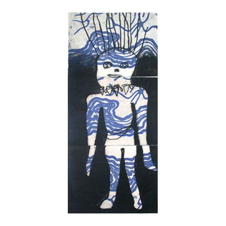 Blue Woman, etching by Marlene Rubuntja and Blanche Ebatarinja
