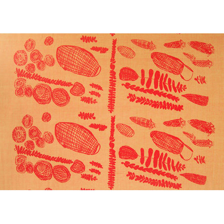 Baskets, Mats and Catfish, screen print on hand woven cotton by Kate Miwulka