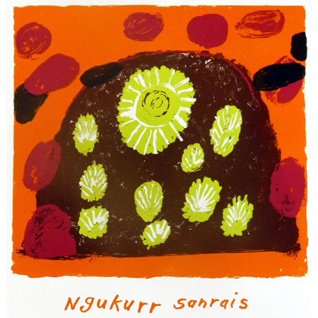 Ngukurr Sunrais, screen print by Maureen Murrarngulu Thompson