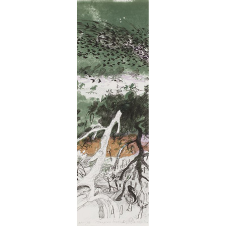 Mangrove Swamp I, lithograph with hand colouring printed in five colours from five aluminium plates, 2012