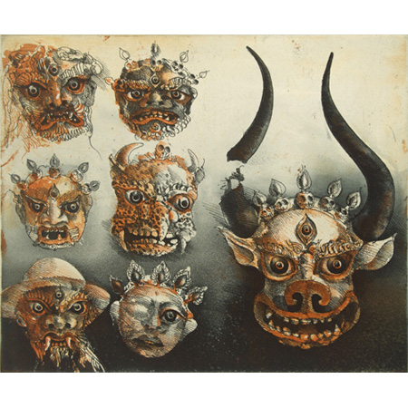 Masks in Spituk, etching