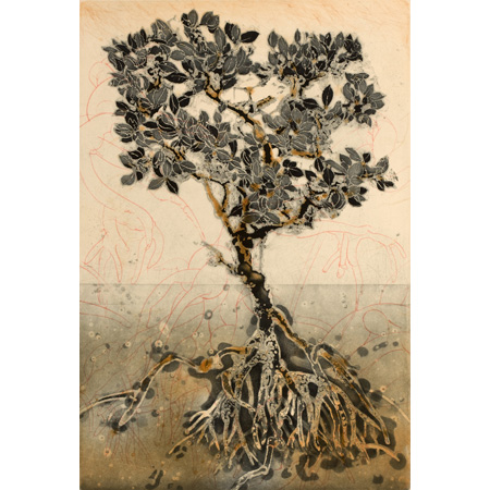 Mangrove Tree, etching, 2010
