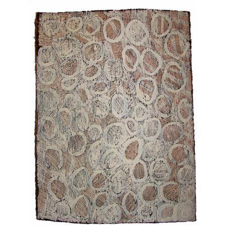 Nyapanyapa Yunupingu, Circles, ochre on bark, 81 x 60 cm, $5000