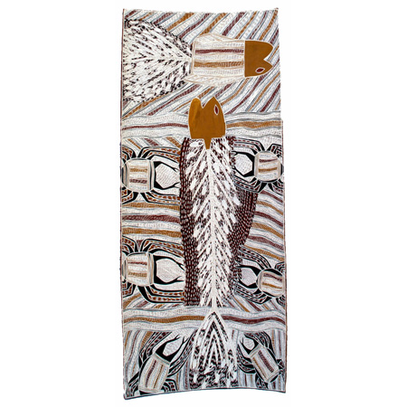 Galuma Maymuru, Yambirrku, ochre on bark, 116 x 50 cm, $3340