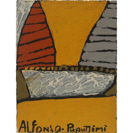 Alfonso Puautjimi, Kapala (boat), ochre on paper, 2011