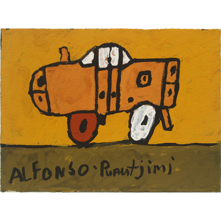 Alfonso Puautjimi, Car, ochre on paper, 2011