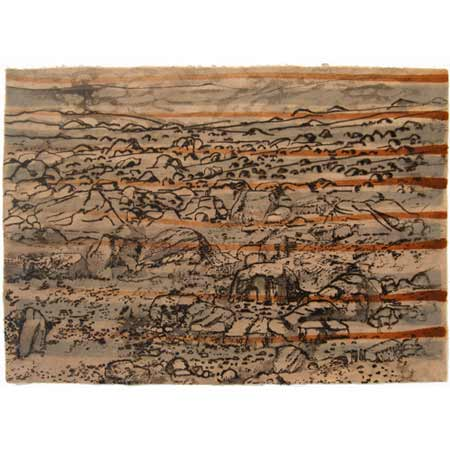 Barren, drypoint on handmade phalsa paper with stenciled earth pigments, 42 x 60 cm.