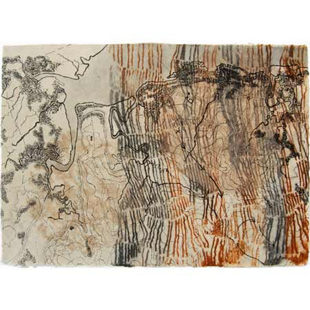 Earth, drypoint on handmade manila hemp rope paper with stenciled earth pigments, 42 x 60 cm.